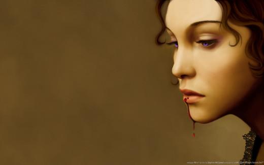 """Схемы автора  """"kamelia """".  190x143 крестов * 51 цветов * Теги: фэнтэзи, девушка, вампир."""